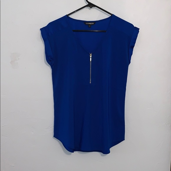 Express Tops - Blue blouse with gold zipper in front